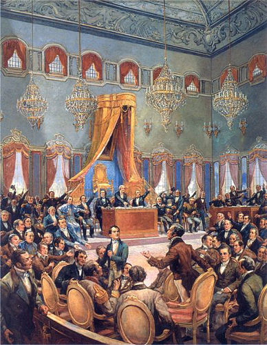 Pintura de Oscar Pereira da Silva, que retrata uma sessão das Cortes Gerais portuguesas.
