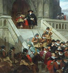 Cromwell dissolvendo o grande Parlamento, tela de Andrew Carrick Grow (1848-1920)