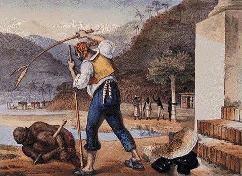 Retrato de um escravo recebendo castigo, pintado por Debret
