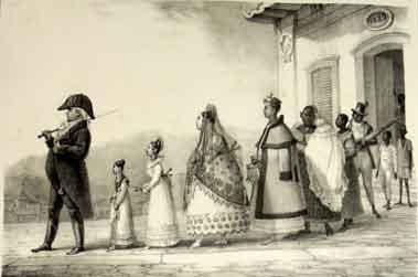 Cortejo de uma família brasileira do século XIX, retratada por Debret
