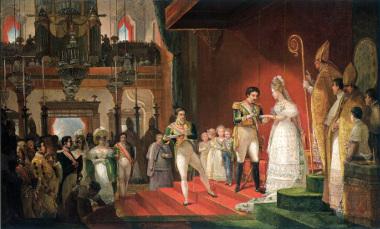 Tela de Debret retratando o segundo casamento de Dom Pedro I