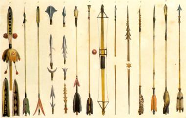 Tipos de armas indígenas desenhados por Debret