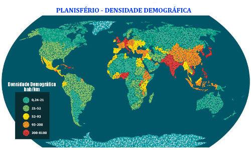 A relação entre a população de um dado local e a área ocupada determina a densidade populacional
