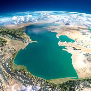 Imagem de satélite do Mar Cáspio, depressão absoluta com 92 metros abaixo do nível do mar