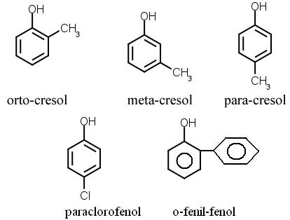 Derivados do fenol usados na produção de desinfetantes