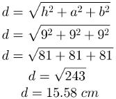 Diagonal do bloco retangular, questão 2