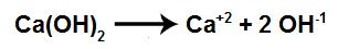 Equação de dissociação do hidróxido de cálcio