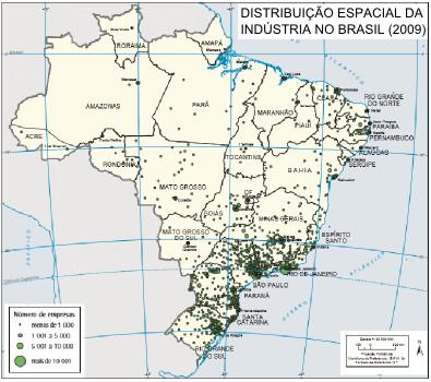 Distribuição espacial da indústria no Brasil