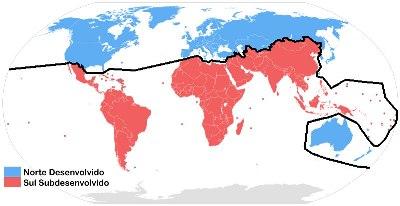 Mapa-múndi separando o norte desenvolvido do sul subdesenvolvido