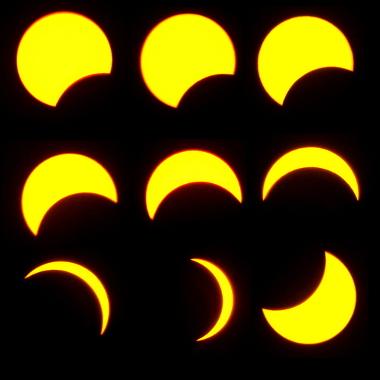 Sequência de imagens, da esquerda para a direita, de um eclipse solar parcial