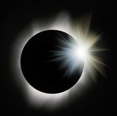 Eclipse solar total, com o sol totalmente encoberto pela lua