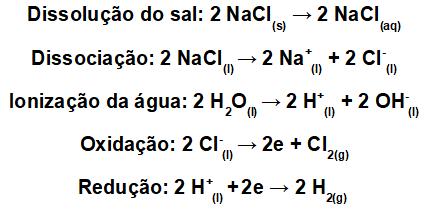 Equações da eletrólise aquosa do NaCl