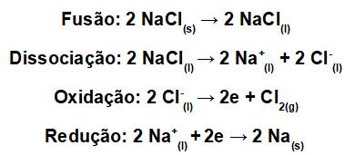 Equações da eletrólise ígnea do NaCl