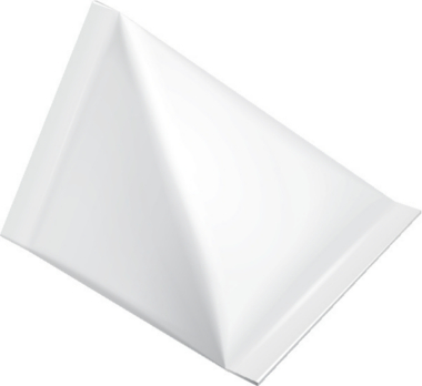 Embalagem cartonada tetraédrica parecida com a primeira desenvolvida por Ruben Rausing