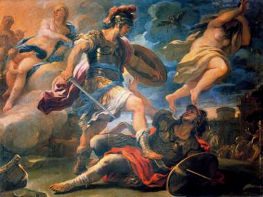 Eneias vence Turno, quadro de Luca Giordano (1632-1705) que mostra o herói troiano em combate pelo reino do Lácio e por Lavínia