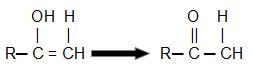 Representação da transformação do enol em cetona (composto mais estável)