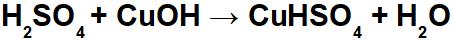 Equação de neutralização do ácido sulfúrico e hidróxido de cobre I