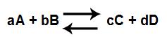 Equação genérica de uma reação química em equilíbrio