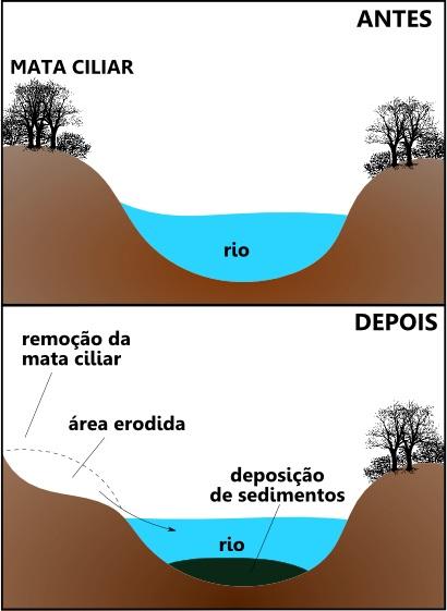 Esquema explicativo do assoreamento em áreas de erosão fluvial