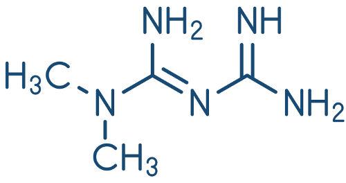 Fórmula estrutural da metformina.