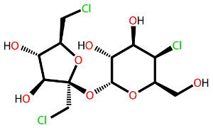 Fórmula estrutural de uma molécula de sucralose