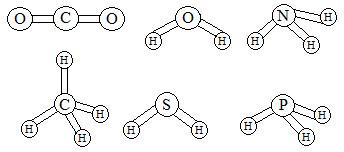 Estruturas de moléculas em exercícios sobre interações intermoleculares