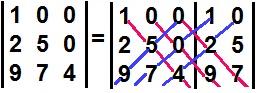 Cálculo do determinante de uma matriz triangular inferior