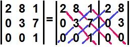 Cálculo do determinante de uma matriz triangular superior