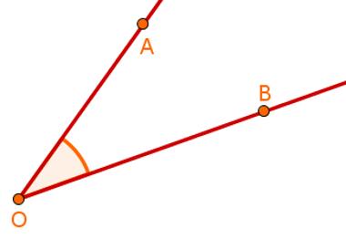 Exemplo de ângulo formado pela região interna a dois segmentos de reta