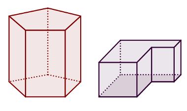 Polígono convexo à direita e polígono não convexo à esquerda