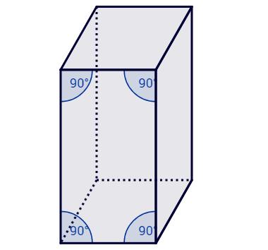 Prisma em que o ângulo de qualquer aresta lateral com as bases é 90°