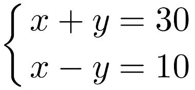 Exemplo de sistema com duas equações e duas incógnitas