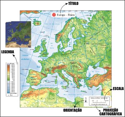 Mapa físico do continente europeu, um exemplo de cartograma com todos os seus elementos *