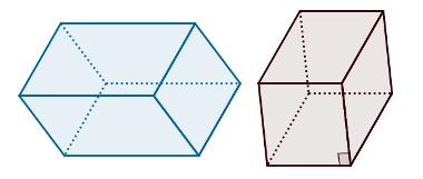 Paralelepípedo qualquer à esquerda; cubo à direita