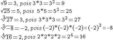 Exemplos de radiciações com índices 2, 3 e 4