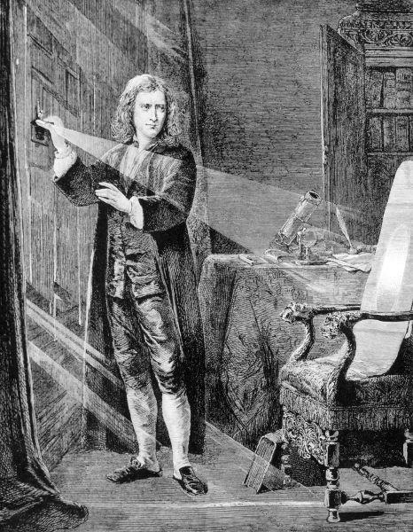 Isaac Newton realizando experimentos com a luz