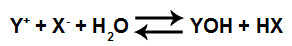 Equação que representa a formação de ácido e base fracos