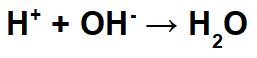 Equação que representa a formação da água em uma neutralização
