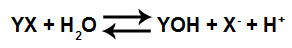 Equação que representa a formação de uma base fraca