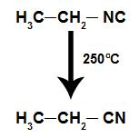 Formação de um nitrilo a partir de um isonitrilo
