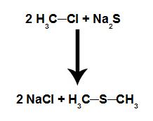 Equação química que representa a formação de um tioéter