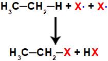 Equação representando a formação dos produtos