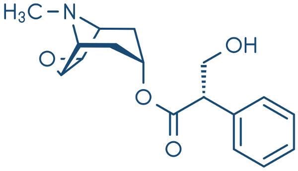 Fórmula estrutural do medicamento escopolamina.