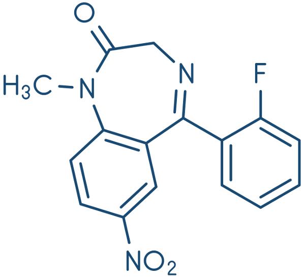 Fórmula estrutural do medicamento flunitrazepam.