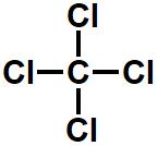 Fórmula estrutural química do tetracloreto de carbono.