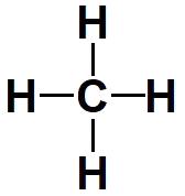Fórmula estrutural do gás metano.