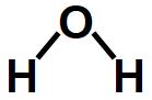 Fórmula estrutural da sustância água.
