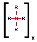 Fórmula estrutural de um sal de amônio quaternário