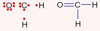 Representação das ligações e dos elétrons ligantes na fórmula do CH2O