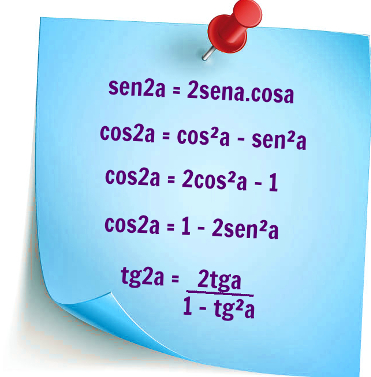 Resumo contendo as fórmulas de arco duplo